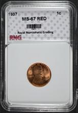 1937 LINCOLN CENT, RNG SUPERB GEM BU RED