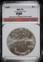 1998 AMERICAN SILVER EAGLE, AGP PERFECT GEM