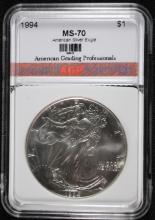 1994 AMERICAN SILVER EAGLE, AGP PERFECT GEM