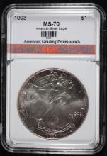 1993 AMERICAN SILVER EAGLE, AGP PERFECT GEM