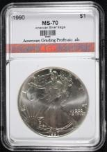 1990 AMERICAN SILVER EAGLE, AGP  PERFECT GEM