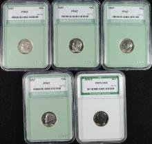 GRADED ROOSEVELT DIMES: 4 1957 NNC GEM PROOF & 1975-S ANI PERFECT PROOF CAMEO