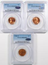 1940-D & 2- 1957-D LINCOLN CENTS PCGS MS66 RD + QA APPROVED