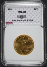 1986  $25.00  HALF OUNCE GOLD AMERICAN EAGLE, RNG SUPERB  PERFECT GEM