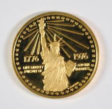 1976 AMERICAN REVOLUTION BICENTENNIAL PROOF GOLD MEDAL .373 TROY OZ AGW