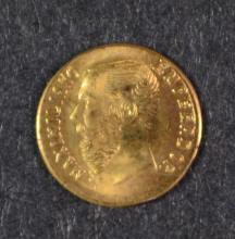 MEXICO GOLD 1865  10 CARAT MAXIMILIAN