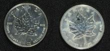 2 - CANADA MAPLE LEAF SILVER DOLLARS - 2003 & 2006, UNC