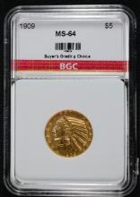 1909 $5 Gold Indian Head Half Eagle BGC CH BU