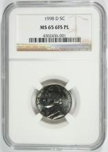 1998-D JEFFERSON NICKEL, NGC MS-65 6 FULL STEPS PROOF LIKE RARE!