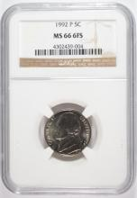 1992-P JEFFERSON NICKEL NGC MS66 6 FULL STEPS