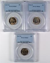 (2) 1947-D PCGS MS-65, & (1) 1943-P PCGS MS-66 JEFFERSON NICKELS