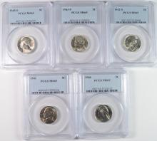 Lot of 5 - Jefferson Nickels PCGS-MS65 ' 40, '41, '42S, '43P, '45S