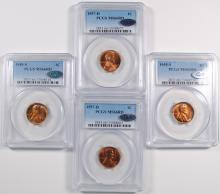 2-1955-S, 2-1957-D LINCOLN CENTS PCGS MS66 RD + QA APPROVED