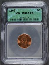 1967 LINCOLN CENT, ICG MS-67 RED