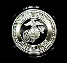 UNITED STATES MARINES ONE OUNCE .999 SILVER ART ROUND