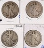 (4) WALKING LIBERTY HALF DOLLARS (16, 16-D, 21-S, 16-D)