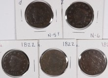 (5) 1822 LARGE CENTS