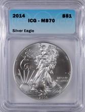 2014 AMERICAN SILVER EAGLE, ICG MS-70!   PREFECT!