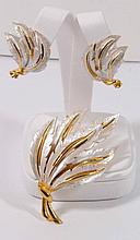 Vintage Signed Costume Jewelry Signed JJ Brooch and clip back earrings