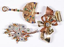 Lot of three Vintage Costume Jewelry Pins/Brooches