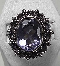 New German Silver Ring, Size: 9, Amethyst