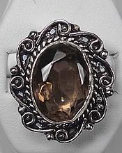 New Smoky Quartz German Silver Ring, Size 9