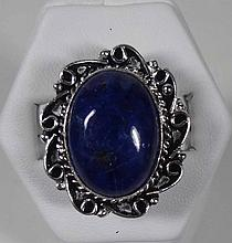New German Silver Ring, Lapis Stone, Size 8