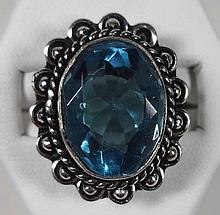 New German Silver Ring, Blue Topaz ring, size 6