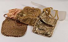 Fabulous Lot of Three Vintage Gold Mesh Purses One is signed Whiting & Davis