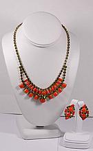 Vintage Signed LeStage Necklace and Clip on Earrings set.1/20 12 kt gold filled
