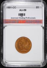 1891-CC $5.00 GOLD, AGP AU/BU