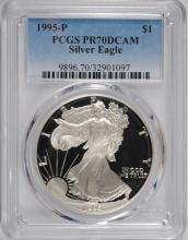 1995-P PROOF AMERICAN SILVER EAGLE, PCGS PR-70 DCAM  RARE!