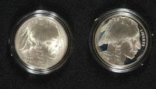 2 COIN SET - 2001 AMERICAN BUFFALO COMMEMORATIVE COINS PROOF & UNC with Box/COA