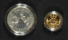 2 COINS - 1988 USA $5.00 GOLD & SILVER DOLLAR OLYMPIC COMMEMORATIVE with Box/COA