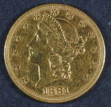 1881-S $20.00 DOUBLE EAGLE GOLD COIN XF