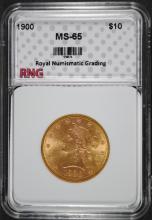 1900 $10 Liberty Head Gold Eagle RNG GEM UNC