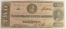 1862 $2 CONFEDERATE STATES AMERICA NOTE T-54 #42302 CH, AU FOUR FULL MARGINS