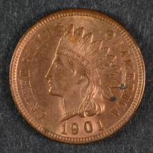 1901 INDIAN HEAD CENT CH BU RED