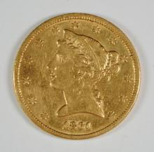 1861 $5 GOLD LIBERTY XF