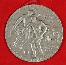 MEDALLIC ART CO. SILVER MEDAL FIRST COLLEGIATE FOOTBALL GAME