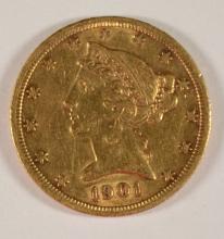1901-S $5.00 GOLD LIBERTY, AU