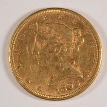 1893 $5.00 GOLD LIBERTY, AU