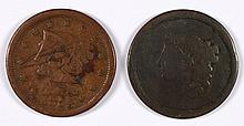 (2) LOW GRADE LARGE CENTS