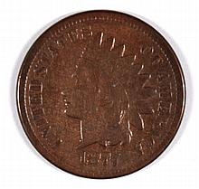 1877 INDIAN HEAD CENT F/VF