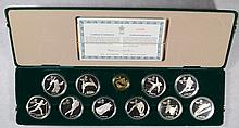 1987 CALGARY CANADA OLYMPIC  - 11 PC GOLD & SILVER COMMEMORATIVE PROOF SET