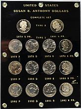 SUSAN B ANTHONY DOLLAR SET COMPLETE IN CAPITAL PLASTIC 14 COINS GEM BU + PROOF