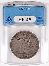 1877 TRADE DOLLAR, ANACS EF-45  ORIGINAL