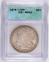1878 7/8F MORGAN SILVER DOLLAR, ICG MS-62  ATTRACTIVE ORIGINAL TONE