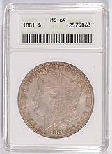 1881 MORGAN SILVER DOLLAR ANACS MS-64 COLOR