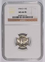 1944-D MERCURY DIME, NGC MS-66 FB  WHITE